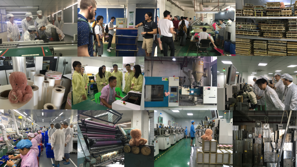 collages of students visiting factories as part of the hacking Manufacturing and Research at Scale course